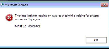 the time limit for logging on was reached outlook 2013